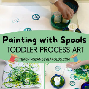 toddler process art with spools