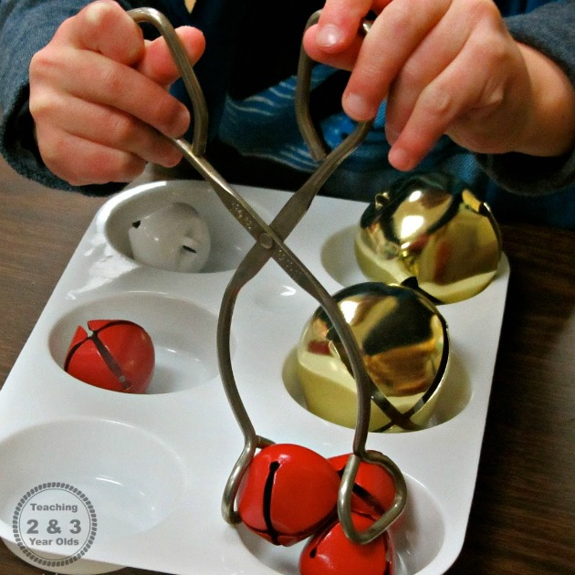 Preschool Christmas Fine Motor Fun with Jingle Bells