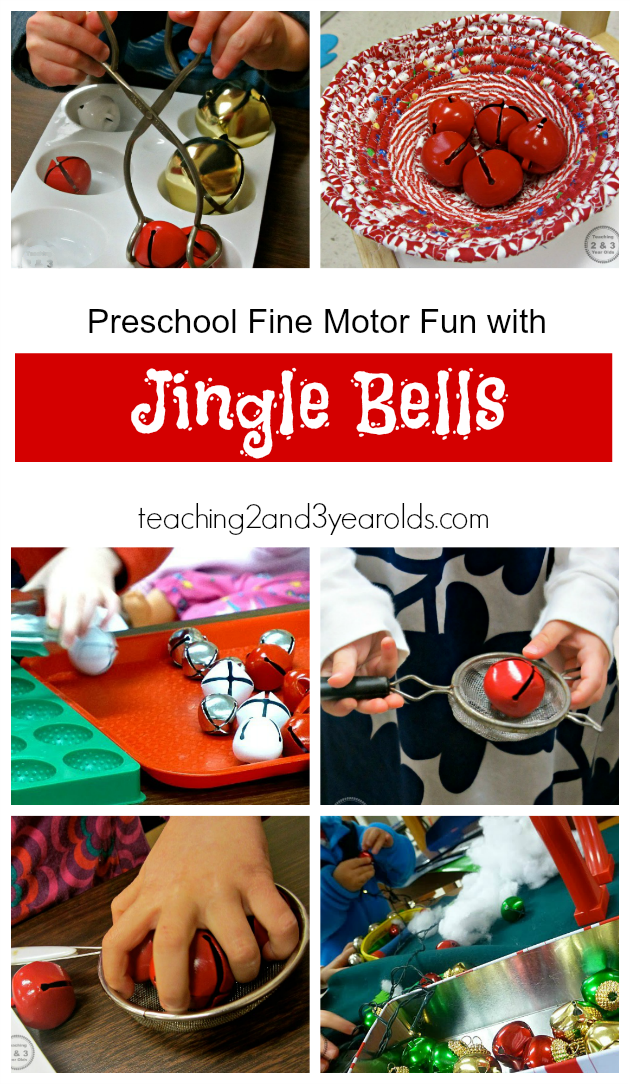 Preschool Christmas Jingle Bell Activity - Great Fine Motor Idea from Teaching 2 and 3 Year Olds