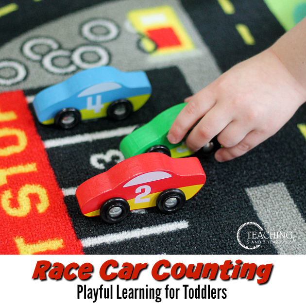 toddler counting with race cars