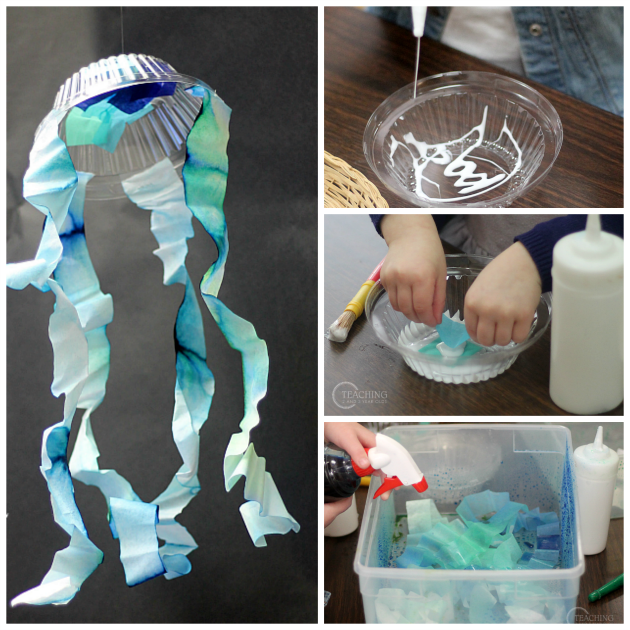 watercolor jellyfish craft - teaching 2 and 3 year olds
