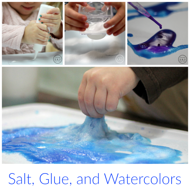 Exploring Science and Art with Salt, Glue, and Watercolors - Teaching 2 and 3 Year Olds
