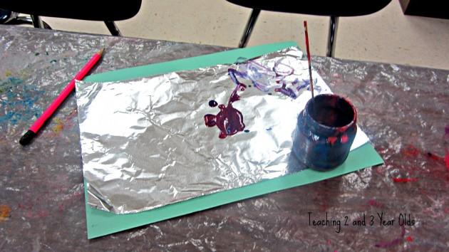preschool painting on foil