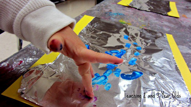 preschool painting on foil
