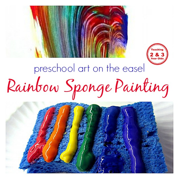 Rainbow sponge painting on the easel for Sponge painting for kids pictures