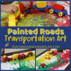 Easy Toddler Transportation Art Using Lego Cars