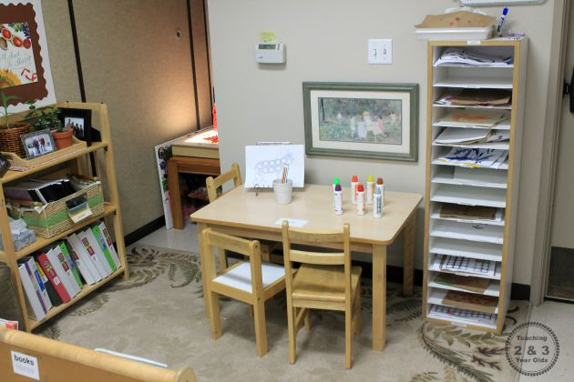 toddler and preschool writing center