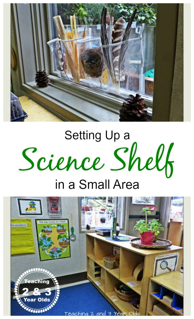 Setting up a science shelf in a small area.