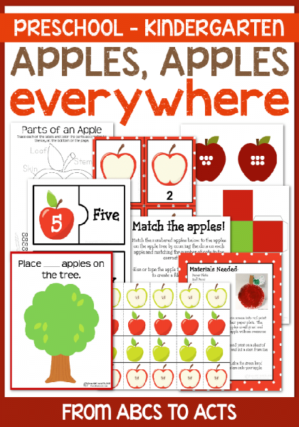 Preschool Apples Learning Pack