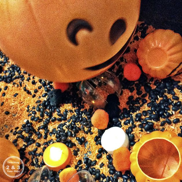 Preschool Halloween Sensory Bin with Pumpkins