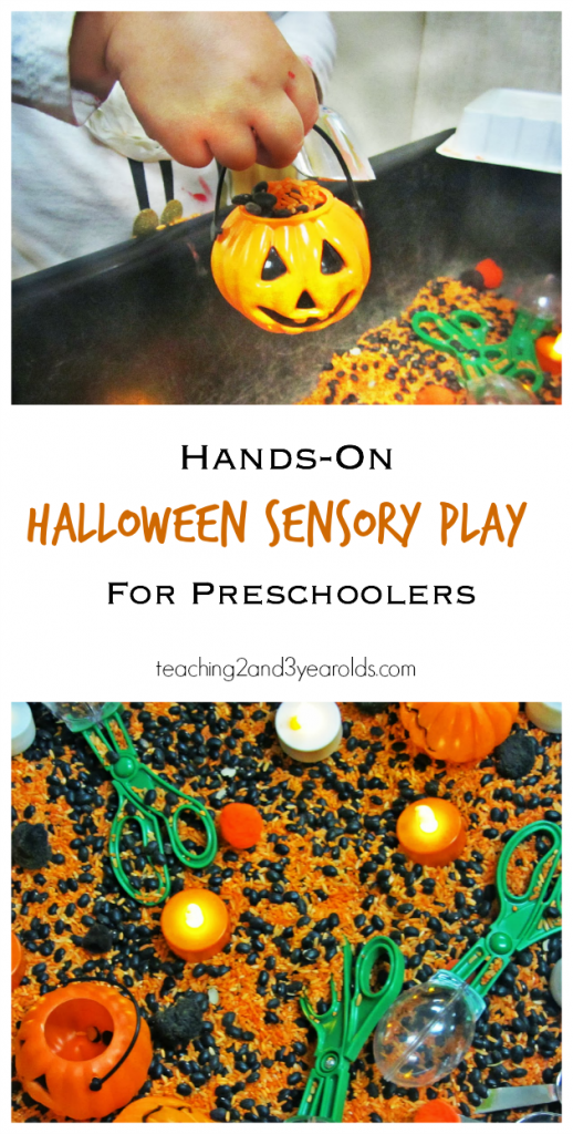 Put together a simple preschool Halloween sensory bin with pumpkins. We added rice and beans and even some flicker tea lights for extra fun!