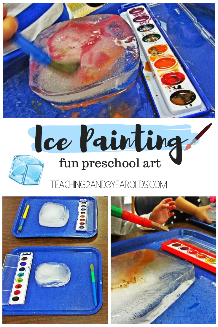 Looking for an easy art activity for toddlers and preschoolers? Try painting on ice blocks! Fun any time of the year!