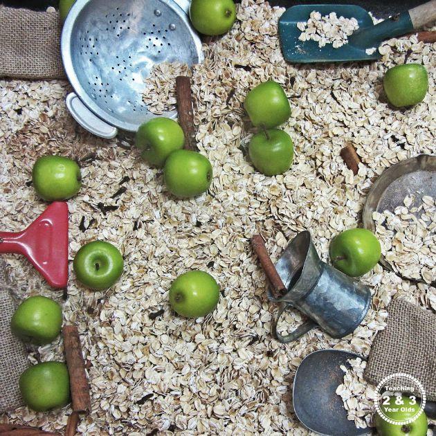 fall apple sensory bin