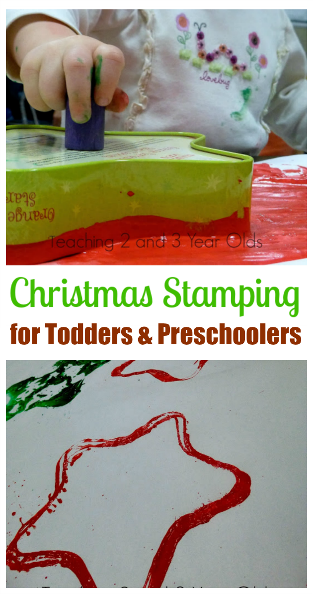 christmas art with diy stamps made from large cookie containers great for toddlers and preschoolers