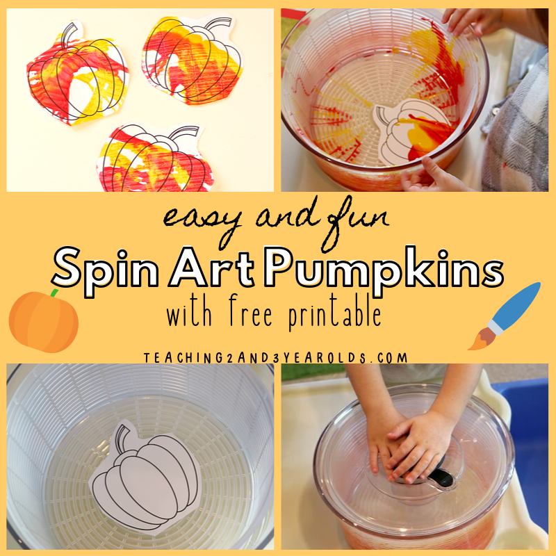 Spin Painted Toddler Pumpkin Art with Free Printable