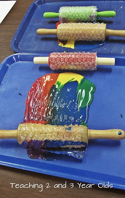 Preschool Painting with Rolling Pins