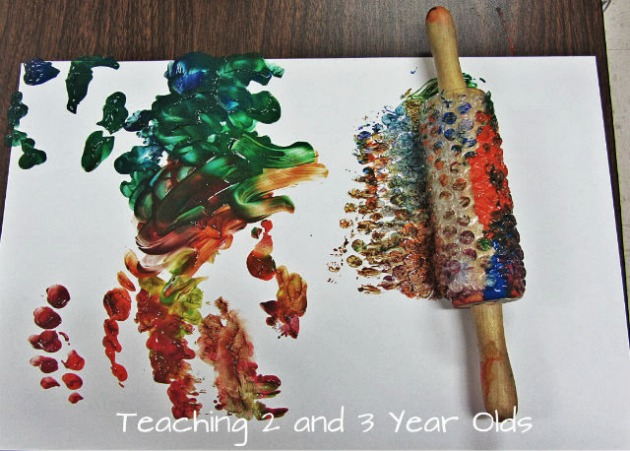 preschool rolling pin painting 7