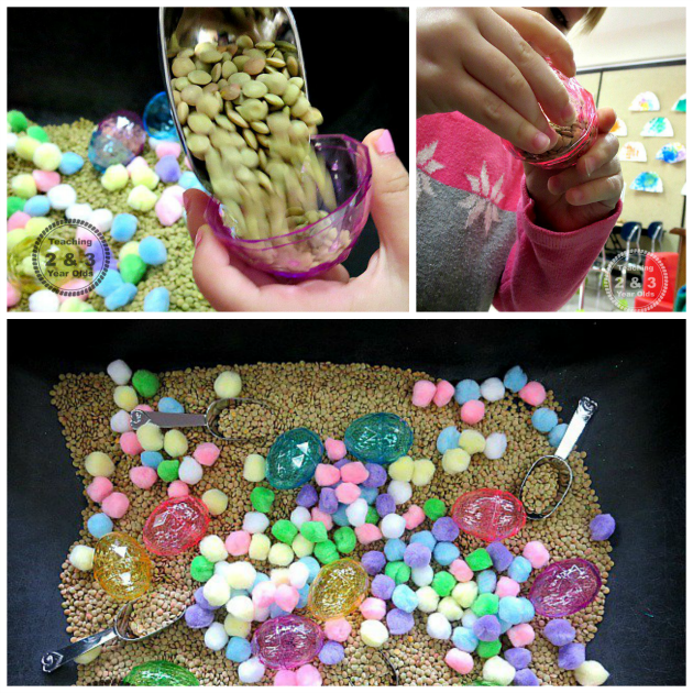 spring color sorting sensory bin