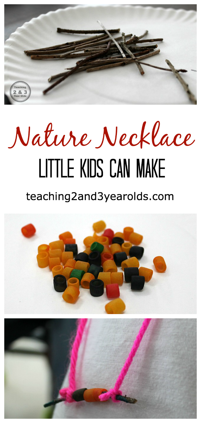 nature stick necklaces made by kids