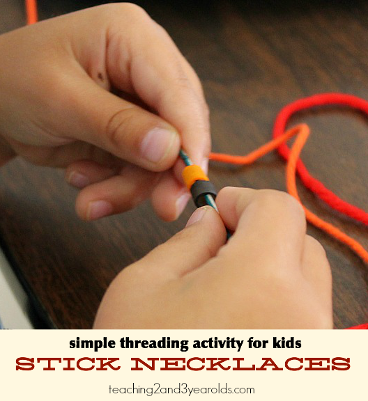 nature stick necklaces: simple threading activity for kids