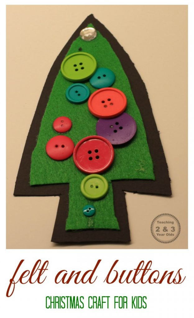 This felt Christmas tree is super easy to make, and it can be tailored to fit the ages of your children. Would be fun for a school or party craft!