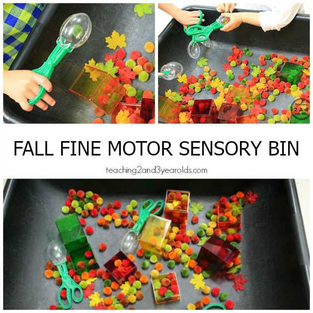 fall sensory bin with pom poms