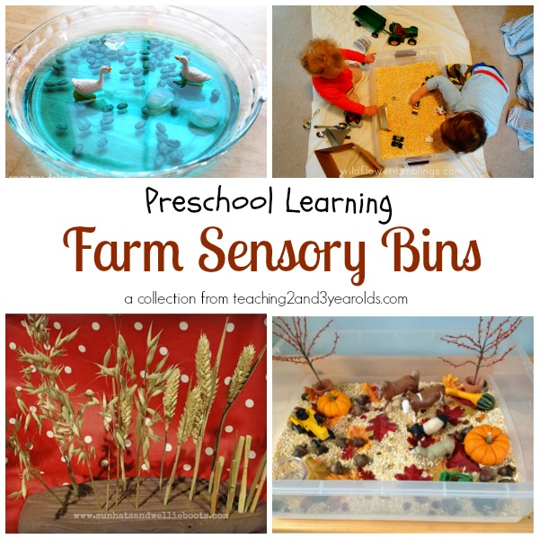 farm sensory bins