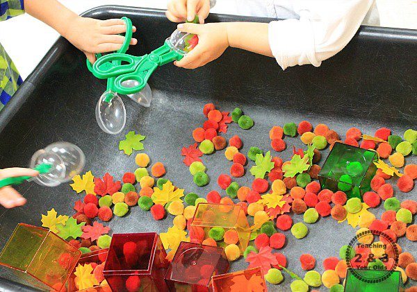 Fine Motor Sensory Bin for Fall