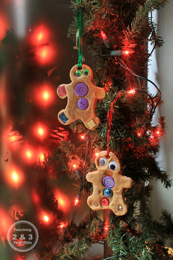 Putting together these easy gingerbread ornaments is super simple. We love adding this Christmas activity to our gingerbread theme!