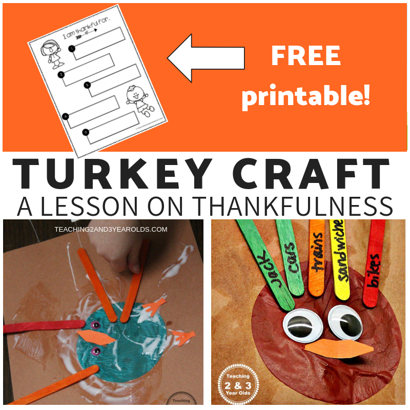 Preschool Turkey Craft that teaches Thankfulness