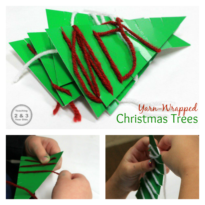 christmas yarn-wrapped trees