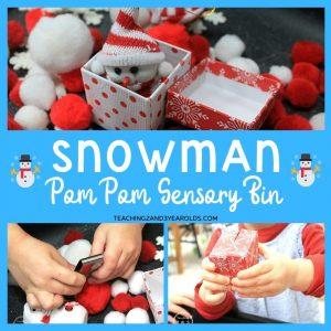 snowman sensory bin