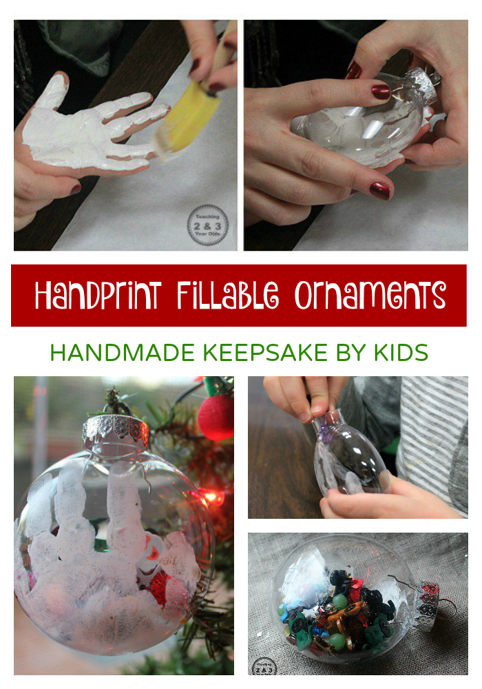 Looking for ornaments for kids to make? These keepsake ornaments can be filled with small items and personalized with a handprint!