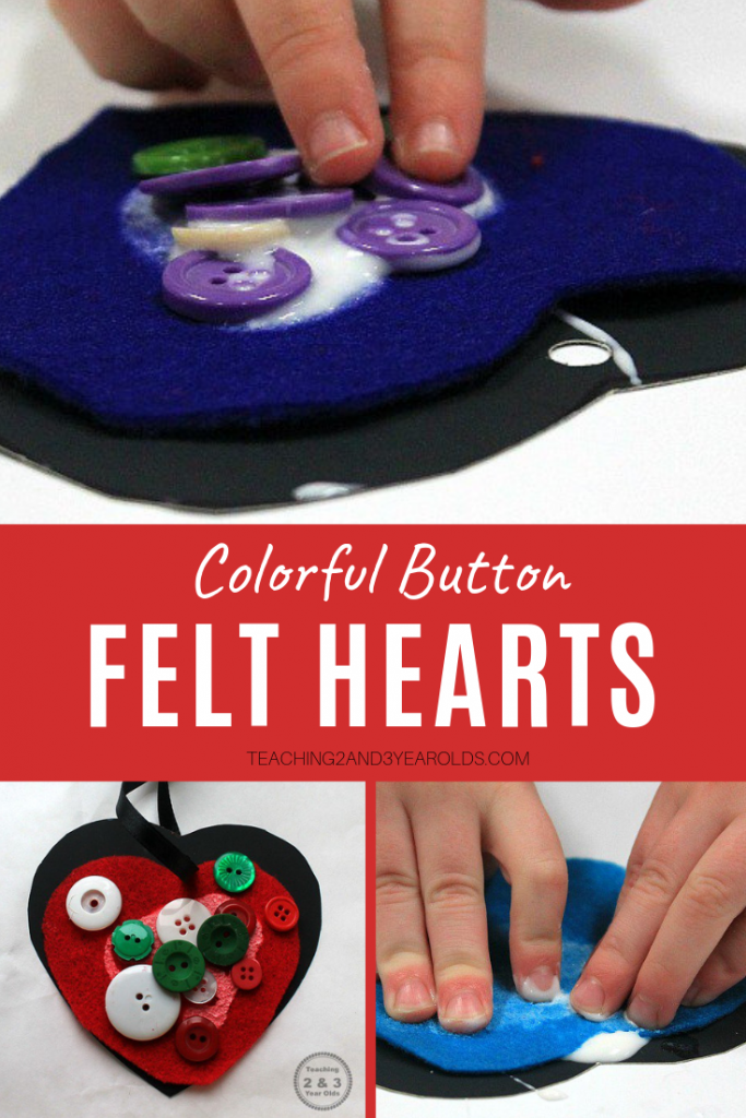 This easy preschool Valentine's craft is so much fun to make, with bright buttons glued on colored felt, and look cute hanging in the classroom or home!