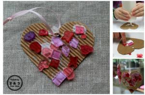Colorful Cardboard Valentine's Craft for Preschoolers