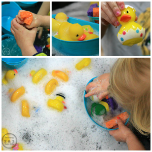 Toddler Spring Sensory Play with 10 Rubber Ducks