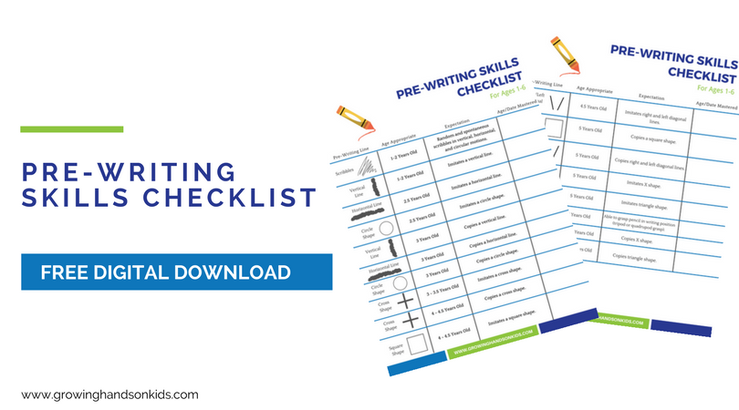 Pre-Writing Skills Checklist - FREE
