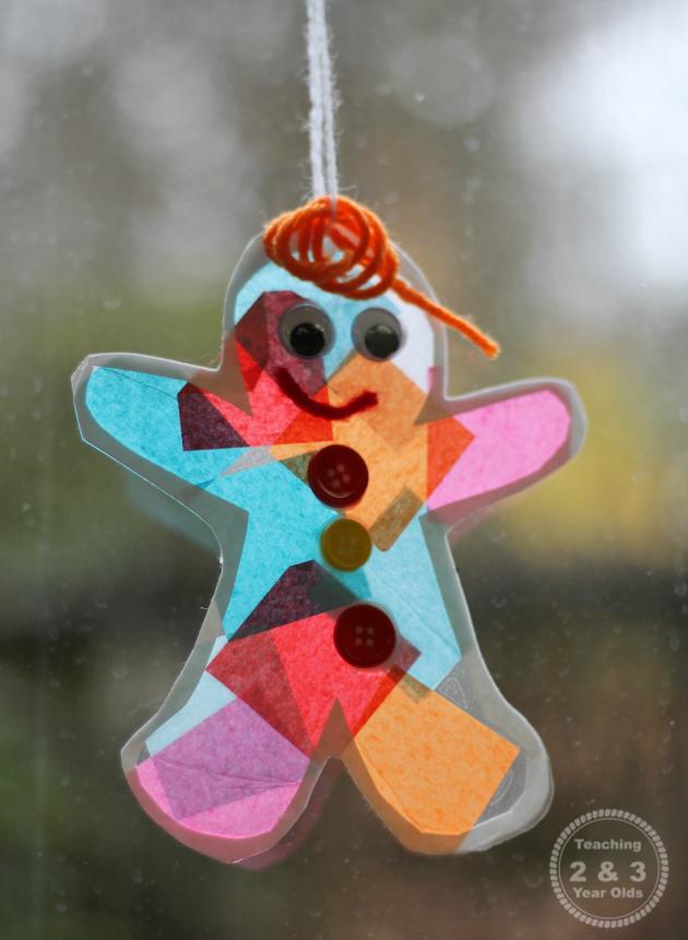Gingerbread Suncatcher Ornament for Kids