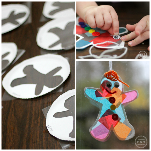 Gingerbread Suncatcher Ornament for Kids - Add some fine motor fun! Teaching 2 and 3 Year Olds