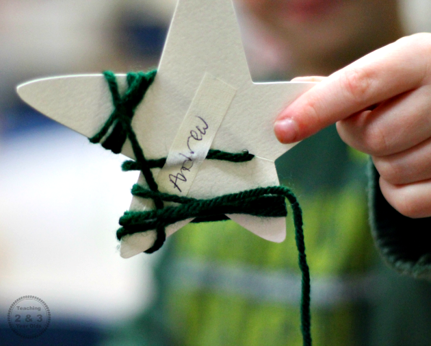 Preschool Christmas Yarn Wrapped Stars