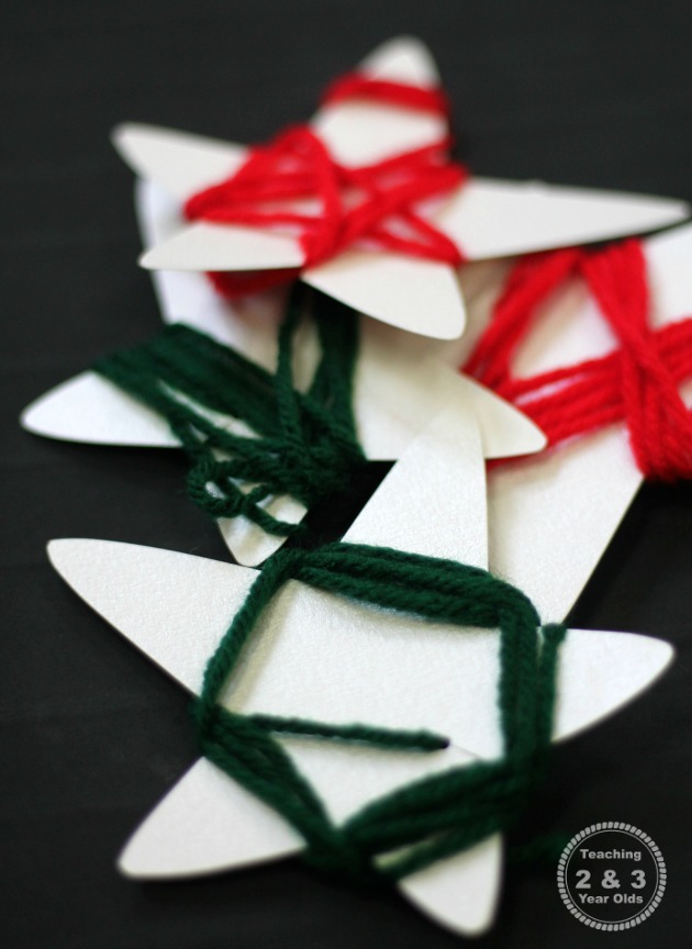 Preschool Christmas Yarn Wrapped Stars