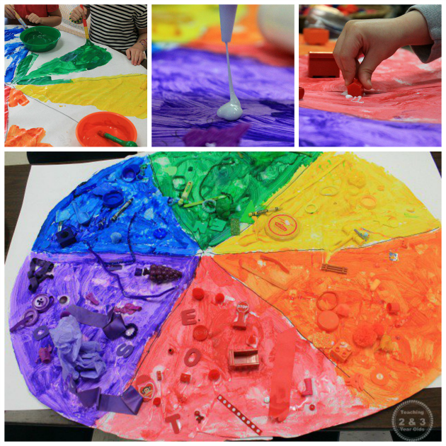 Teaching colors to preschoolers - make a giant color wheel! Teaching 2 and 3 Year Olds