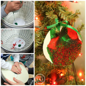 Easy Christmas Spin Art for Toddlers