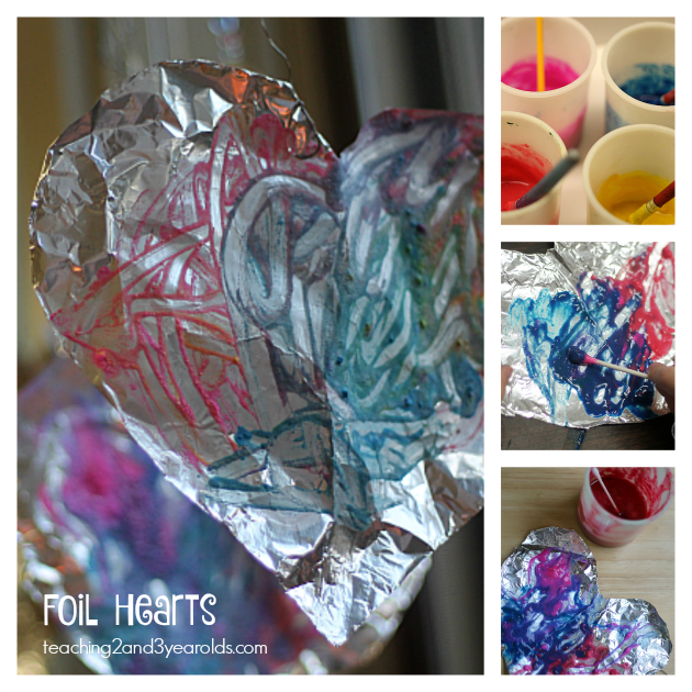 Foil Valentine's Hearts - Art for Little Kids for Valentine's Day - Teaching 2 and 3 Year Olds