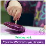 Painting with Frozen Watercolor Hearts - A fun Valentine's activity for kids!