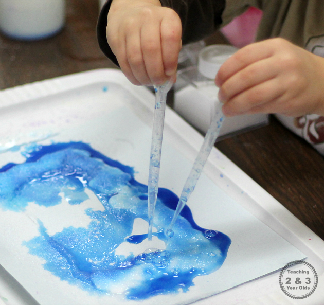 Salt and Watercolor Painting - Teaching 2 and 3 Year Olds