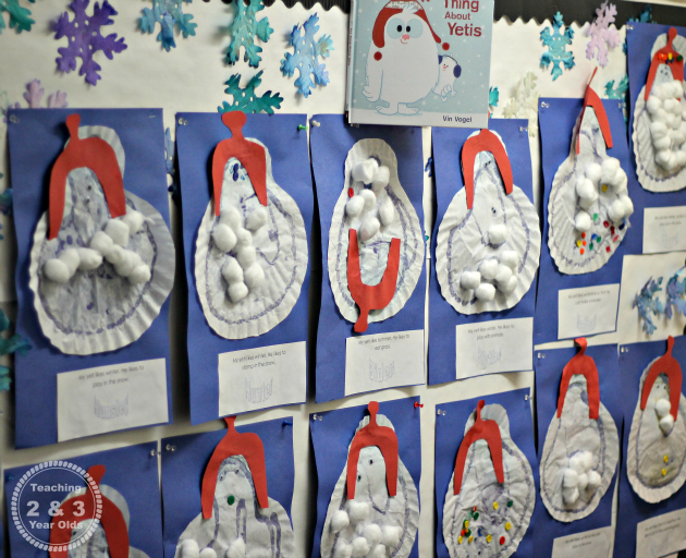 "Preschool winter art that goes with the book ""The Thing About Yetis"" by Vin Vogel"