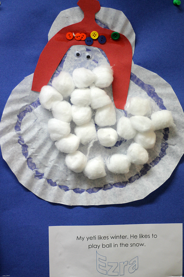 """Preschool winter art that goes with the book """"The Thing About Yetis"""" by Vin Vogel"""