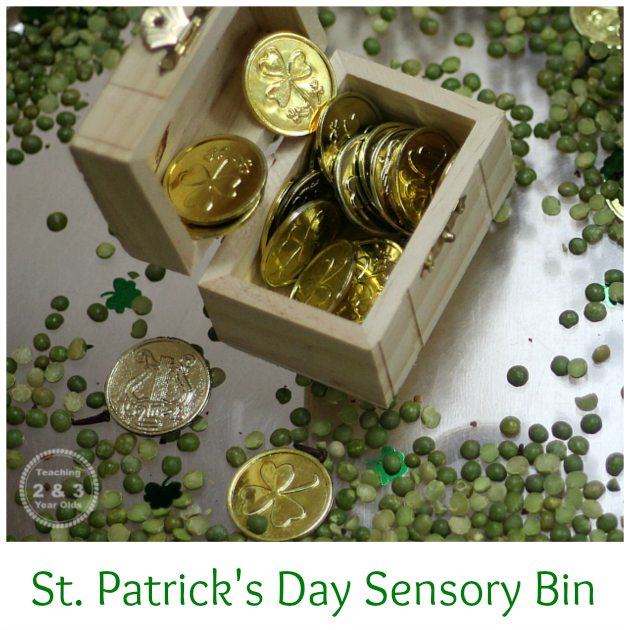 St Patrick's Day Sensory Bin - Fun with Gold Coins and Treasure Chests - Teaching 2 and 3 Year Olds