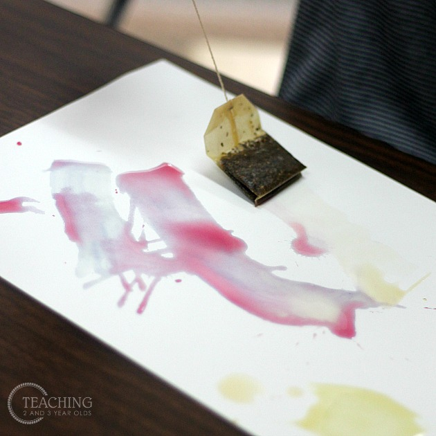 Preschool Painting with Tea Bags